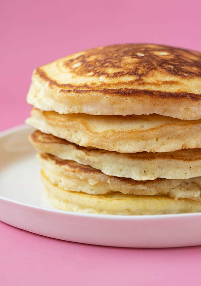 A stack of homemade American-style Pancakes
