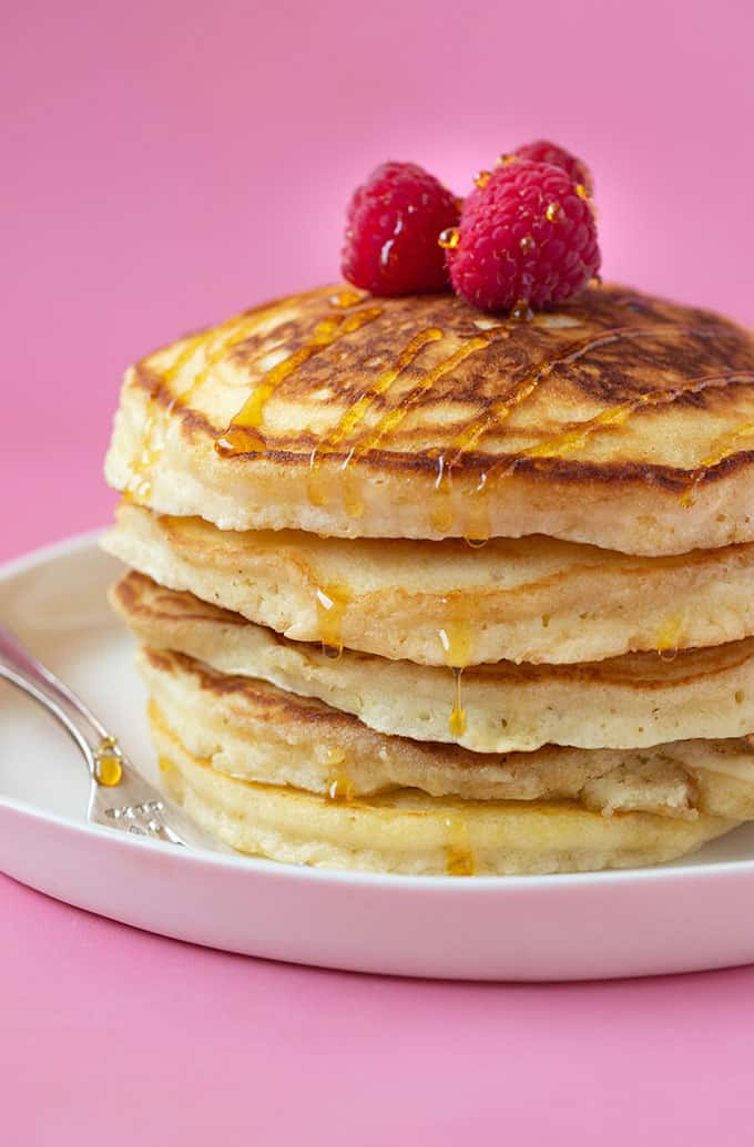 A big stack of Fluffy American Pancakes