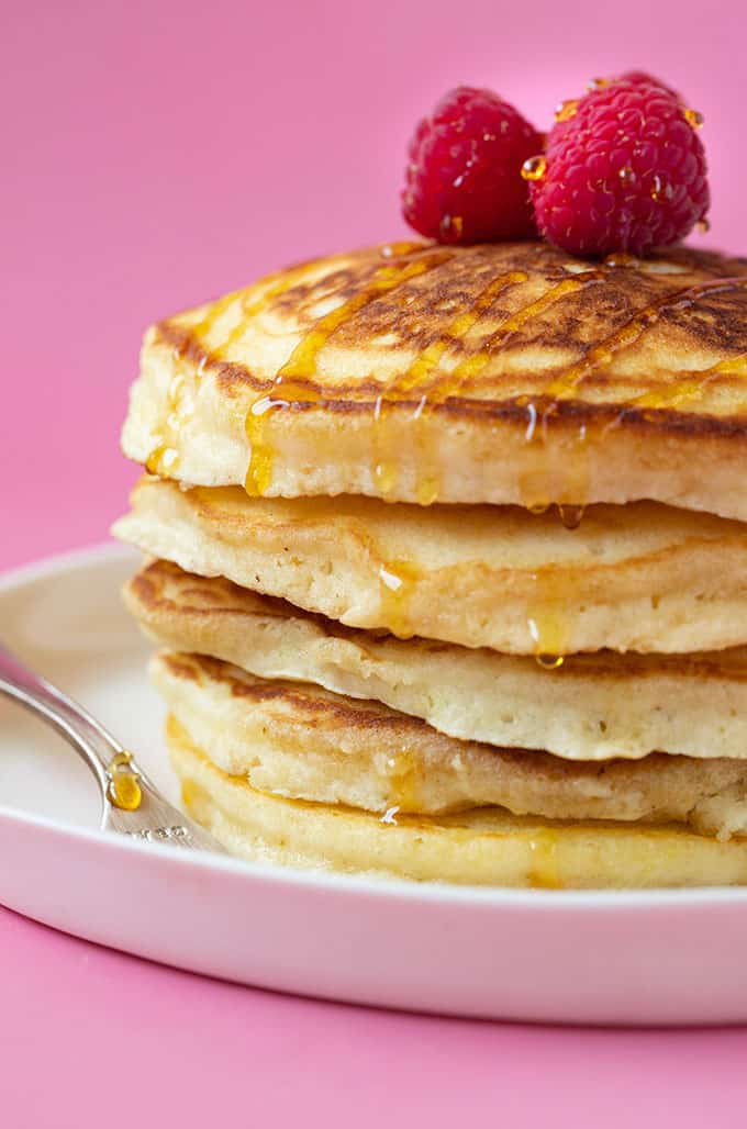 Close up of a stack of thick homemade pancakes
