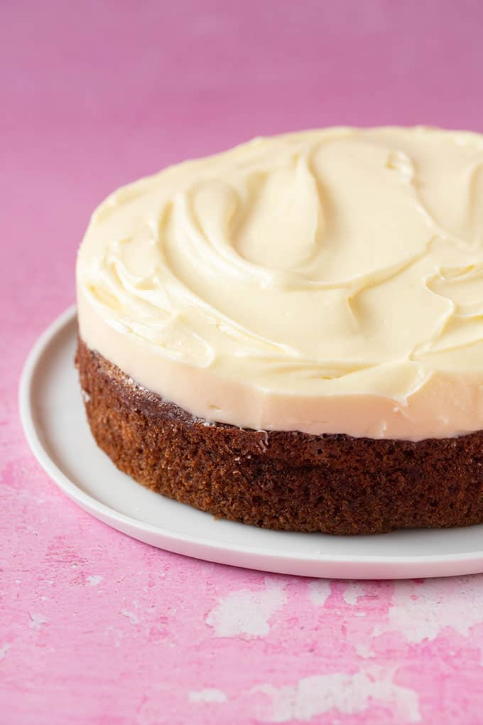A one layer Banana Cake topped with cream cheese frosting