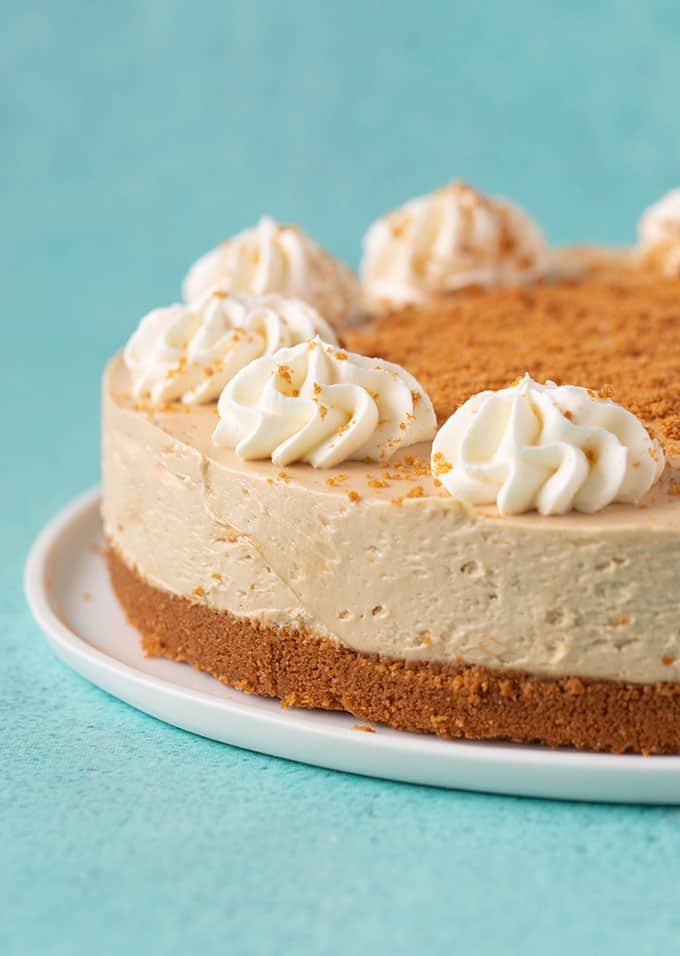 A no bake Biscoff Cheesecake on a white plate