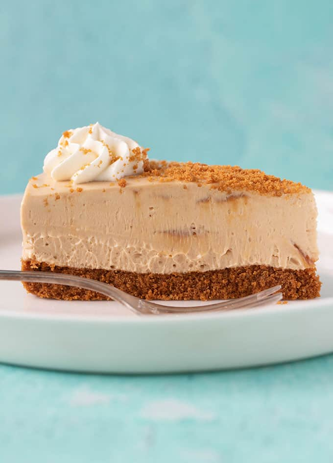 Side view of a slice of Biscoff Cheesecake