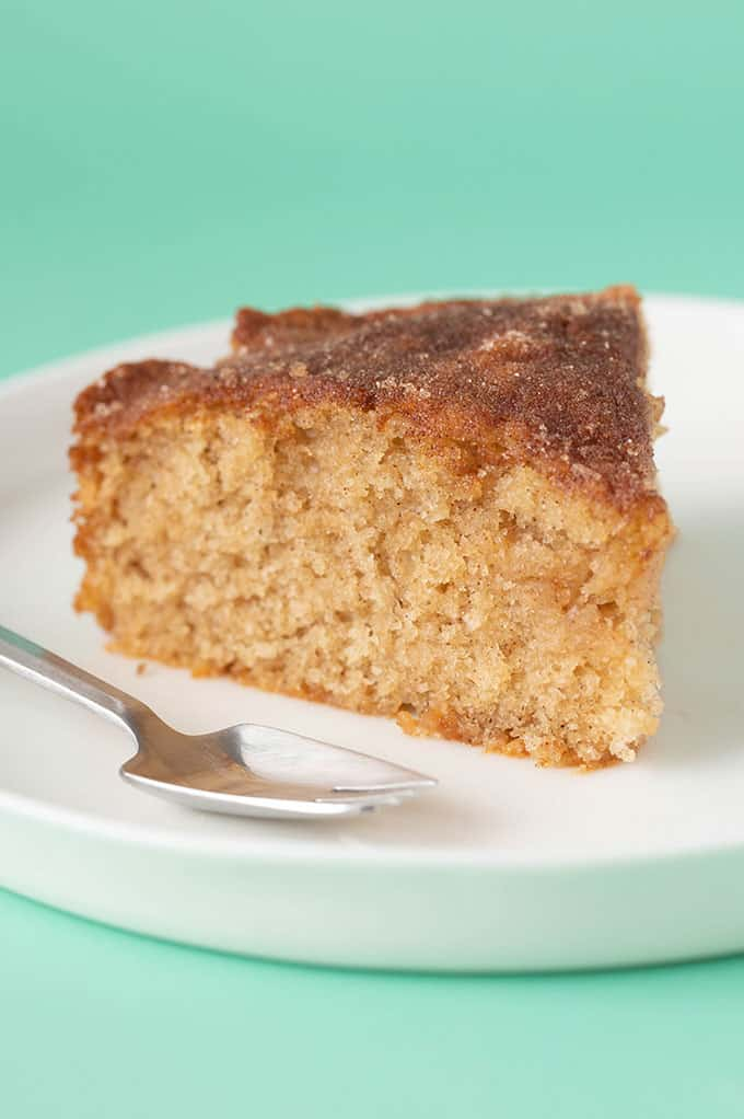 A piece of Tea Cake with a fork next to it