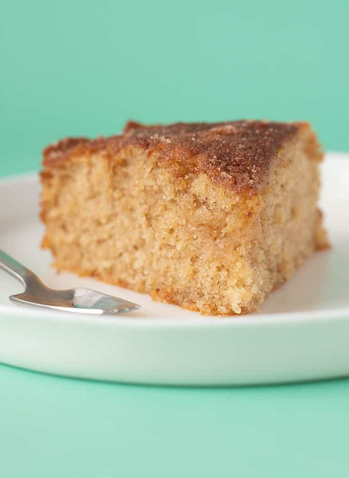 Close up of a slice of Cinnamon Tea Cake
