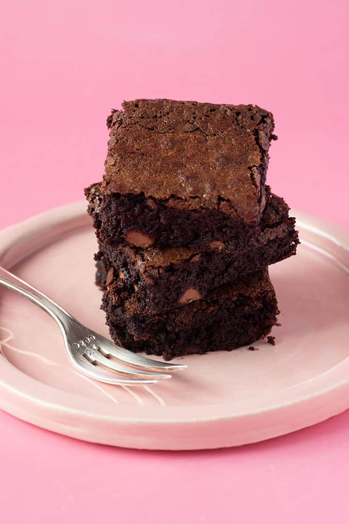 Homemade Flourless Brownies on a pink plate