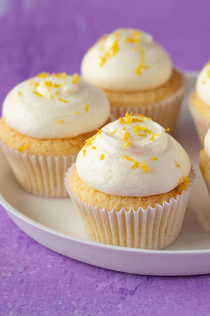 Lemon Cupcakes on a white plate