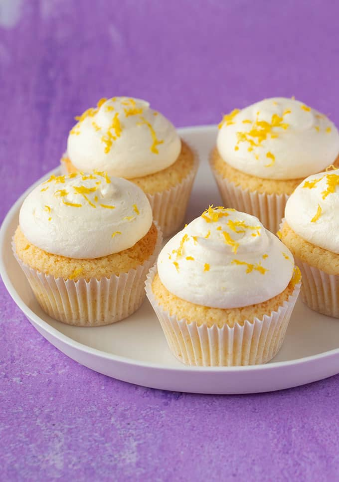 A plate of beautiful Lemon cupcakes