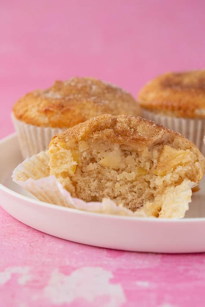 Homemade Apple Muffin cut in half