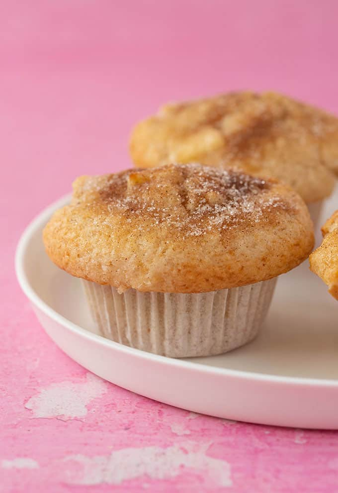 Homemade Apple Muffins on a white plate