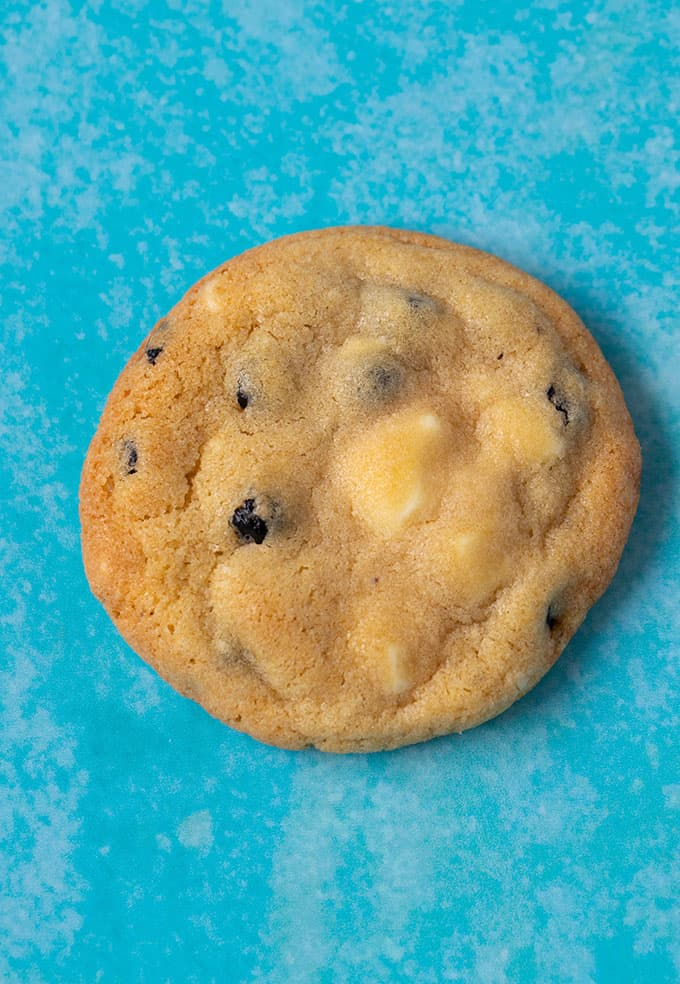 Close up of homemade Blueberry Cookie on a blue background