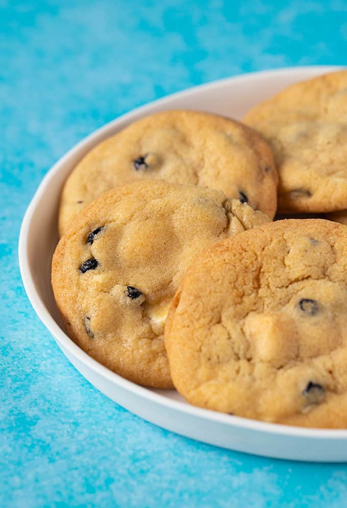 A plate of Blueberry Cookies on a white plate