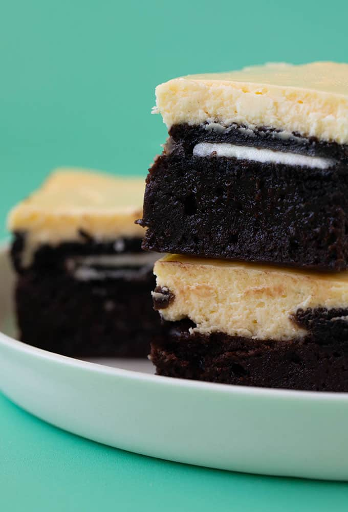 Close up of a stack of Oreo Cheesecake Brownies