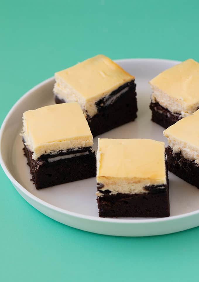 A plate of homemade Oreo Cheesecake Brownies