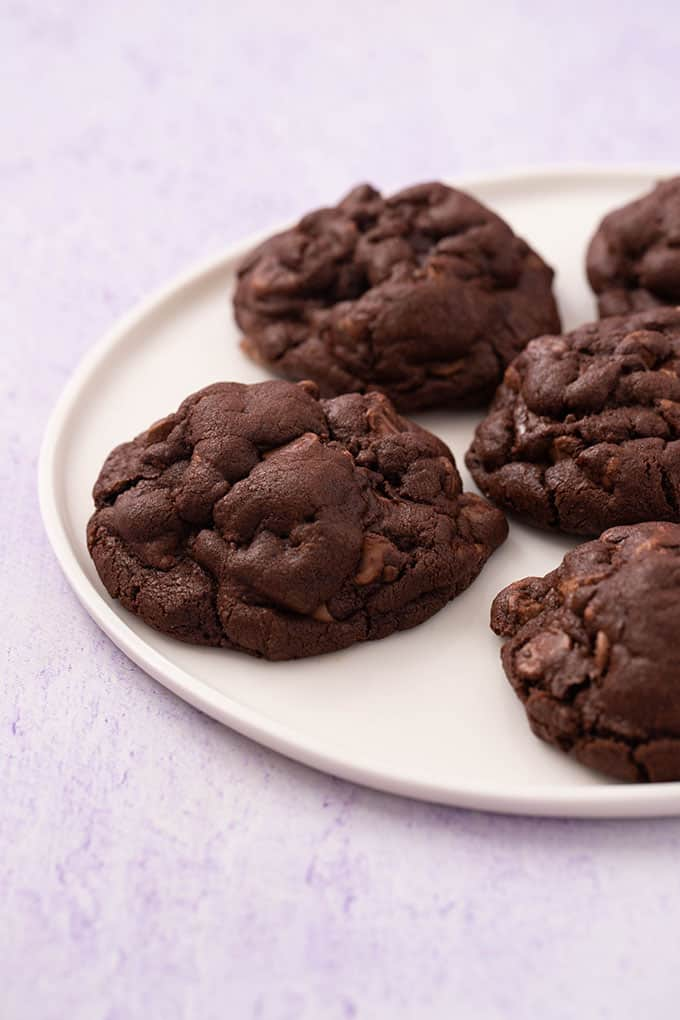 A plate of homemade thick and chewy Chocolate Cookies
