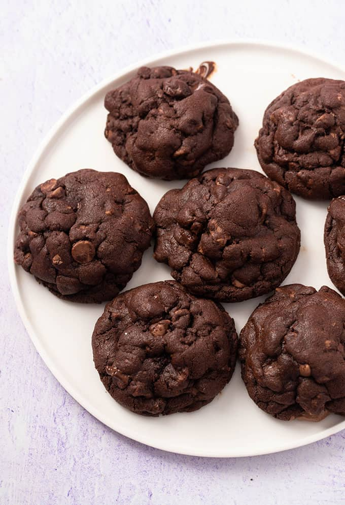 Top view of a plate of thick and chunky Double Chocolate Cookies