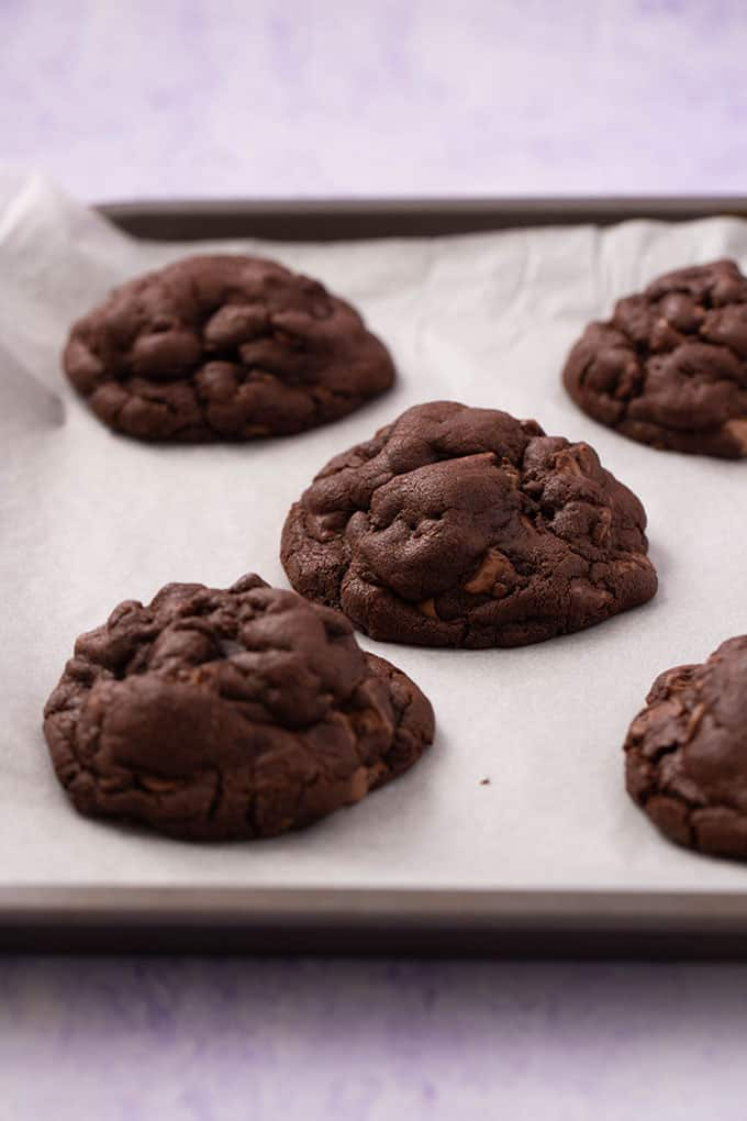 A baking tray of homemade Chocolate Cookies fresh from the oven