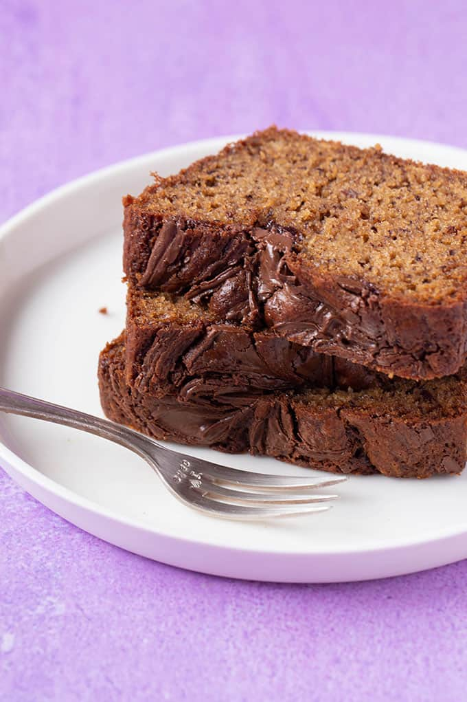 A stack of thickly sliced Nutella Banana Bread