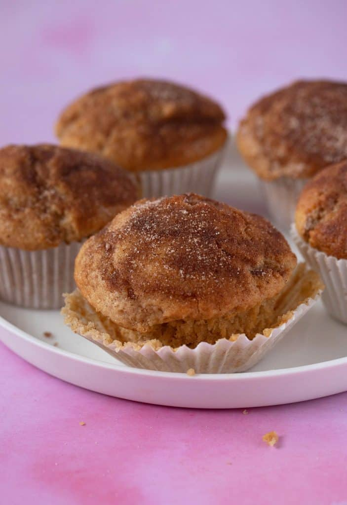 A white plate filled with Cinnamon Sugar Donut Muffins