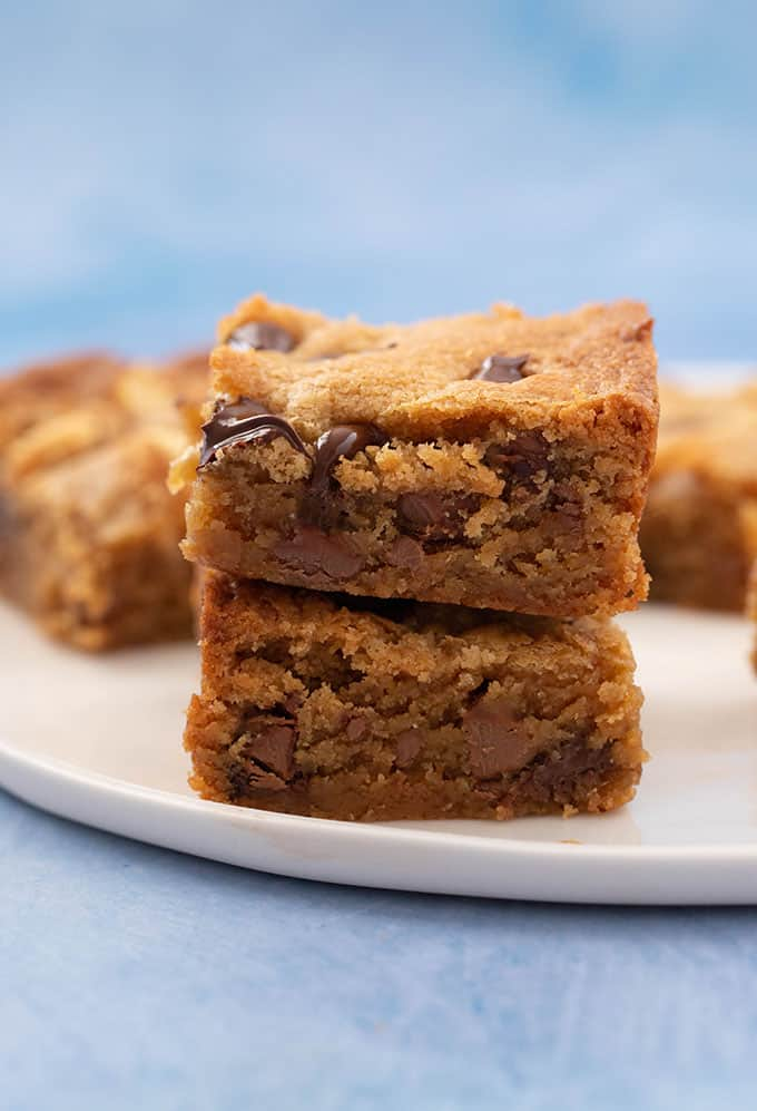 A stack of homemade Peanut Butter Blondies
