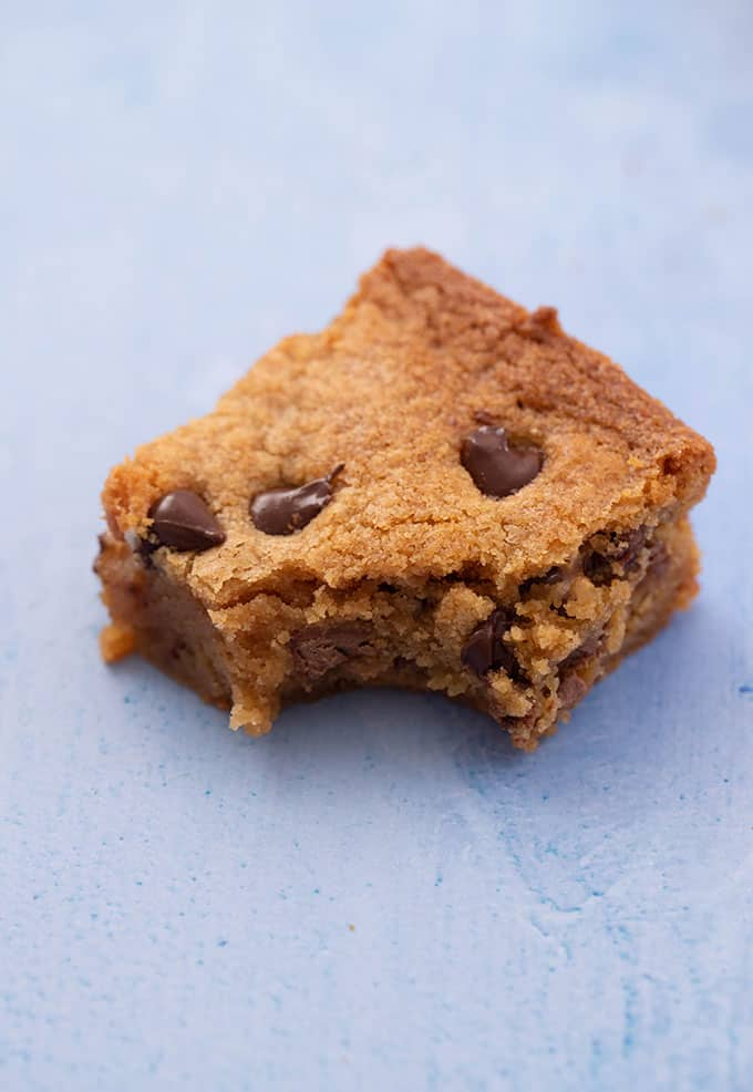 A Peanut Butter Blondie with a bite taken out of it