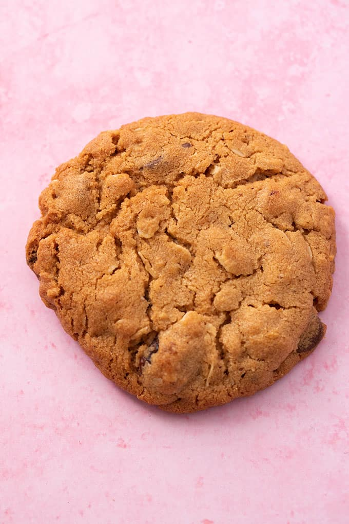 Close up of a single Peanut Butter Oatmeal Cookie on a pink background