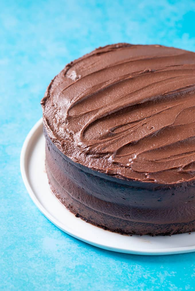 An amazing two layer Vegan Chocolate Cake on a blue background