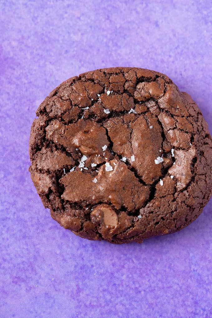 Top view of a homemade Chocolate Brownie cookie sprinkled with sea salt.