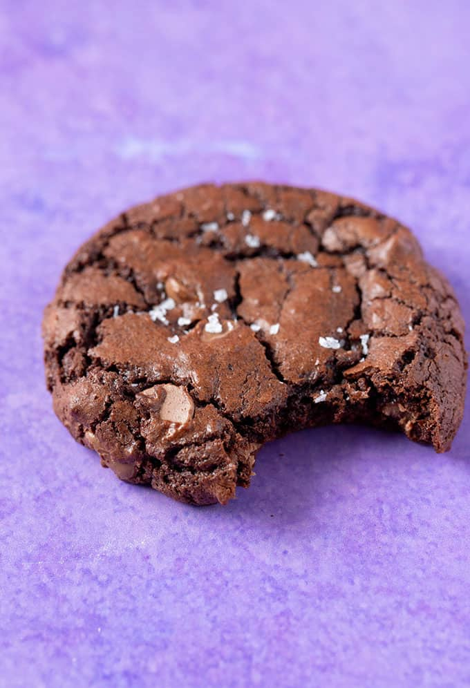 A Brownie Cookie with a bite taken out of it.