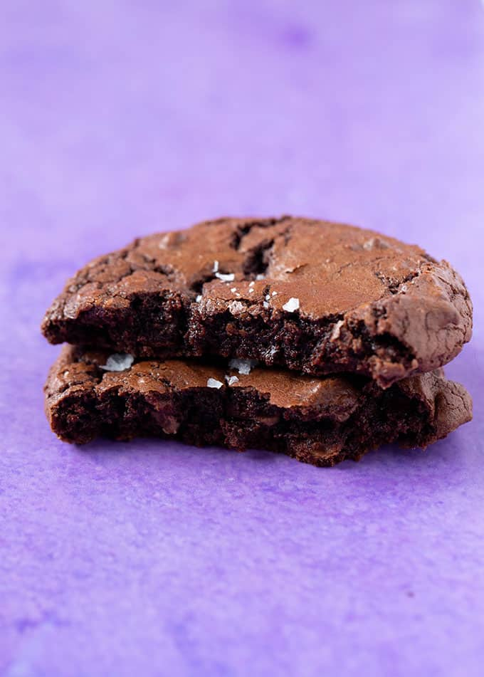 A stack of fudgy Brownie Cookies cut in half