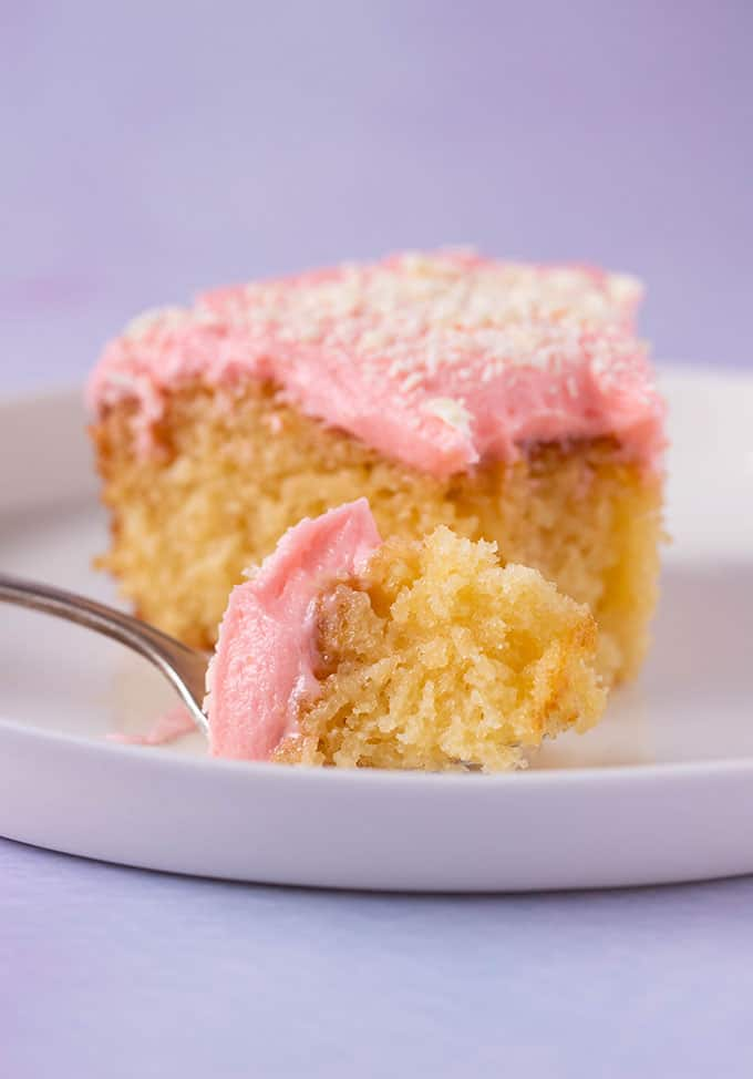 A piece of Butter Cake on a cake fork
