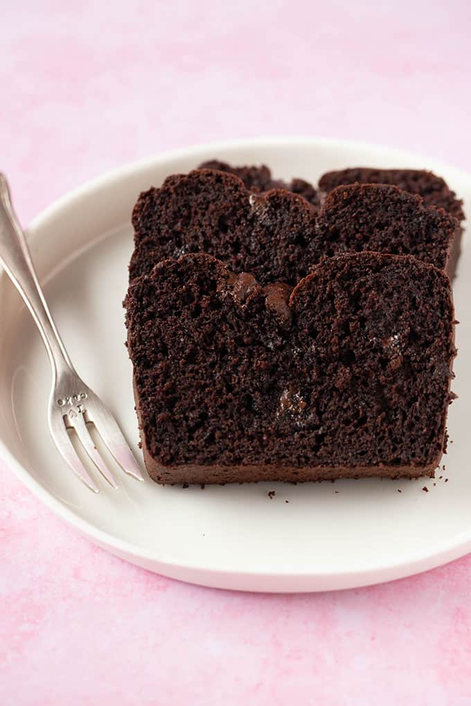 Close up of a few slices of Chocolate Bread on a white plate