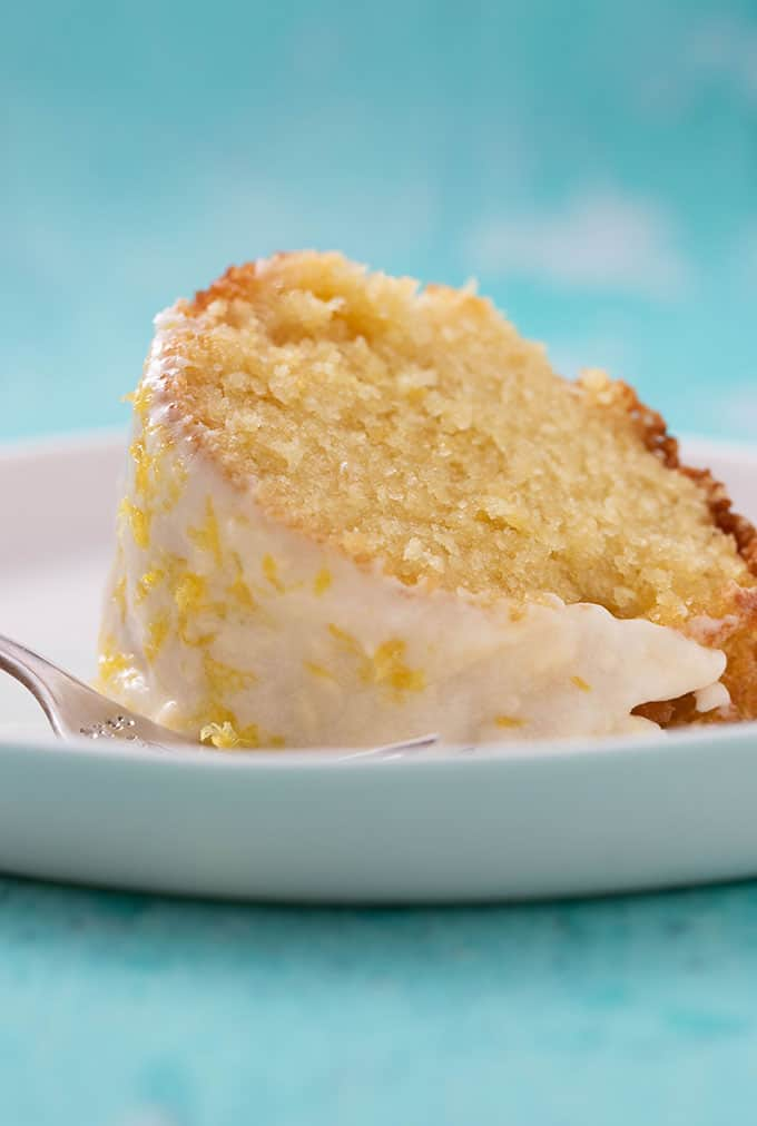 Close up shot of a piece of Lemon Bundt Cake
