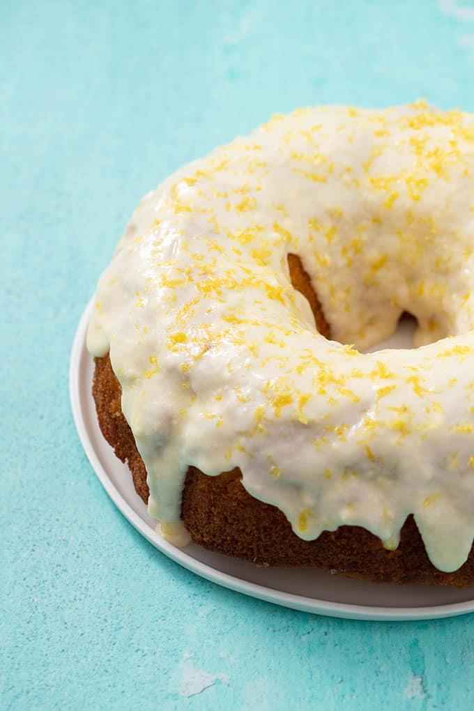 Top view of a Glazed Lemon Bundt Cake decorated with lemon zest.