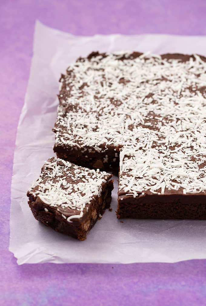 A homemade Chocolate Coconut Slice on a purple background