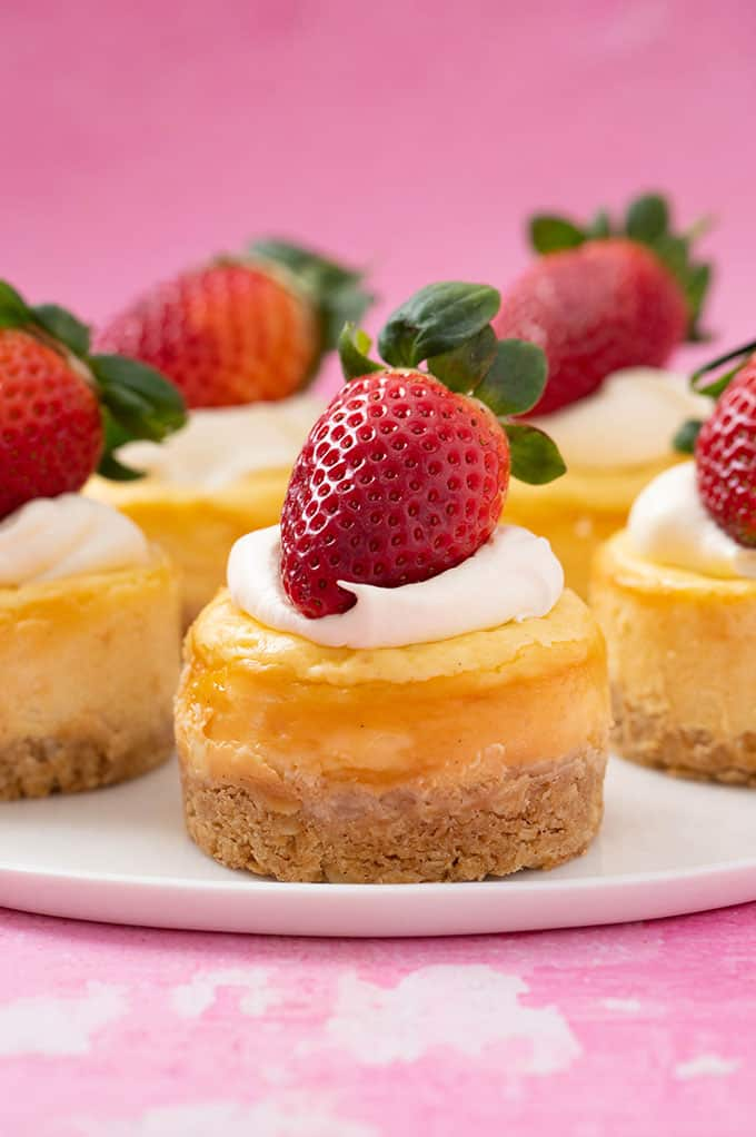 Beautiful mini cheesecakes topped with fresh strawberries