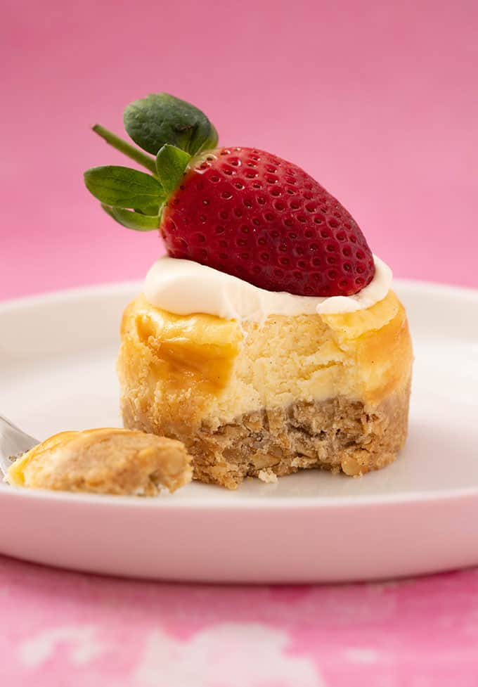 Baked Vanilla Cheesecake with a bite taken out of it