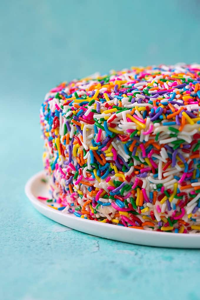 A large layer cake covered in funfetti sprinkles on a blue background