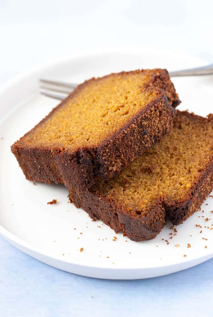 Two slices of Pumpkin Bread on a white plate