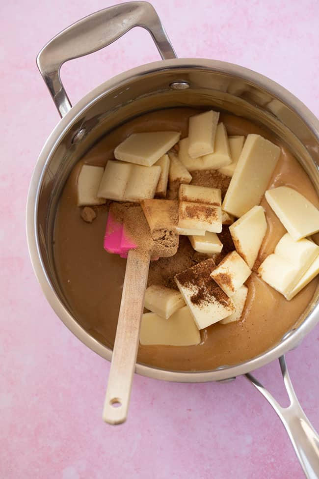A saucepan filled with homemade Gingerbread Fudge