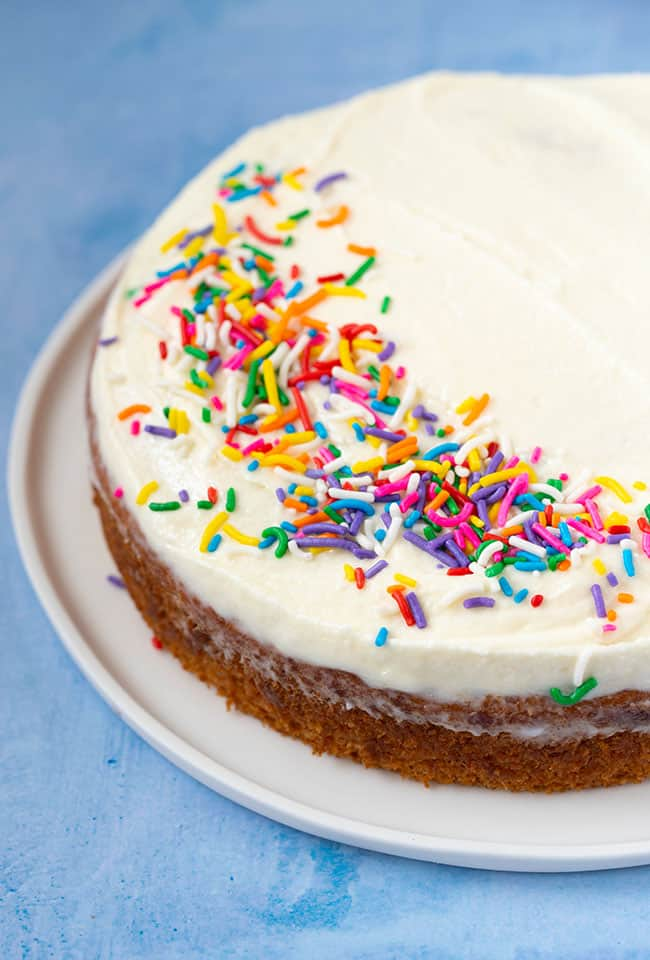 A one layer Vegan Vanilla Cake topped with rainbow sprinkles