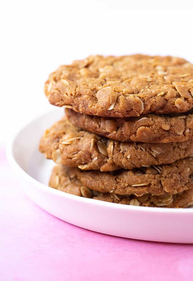 A stack of homemade Anzac Biscuits