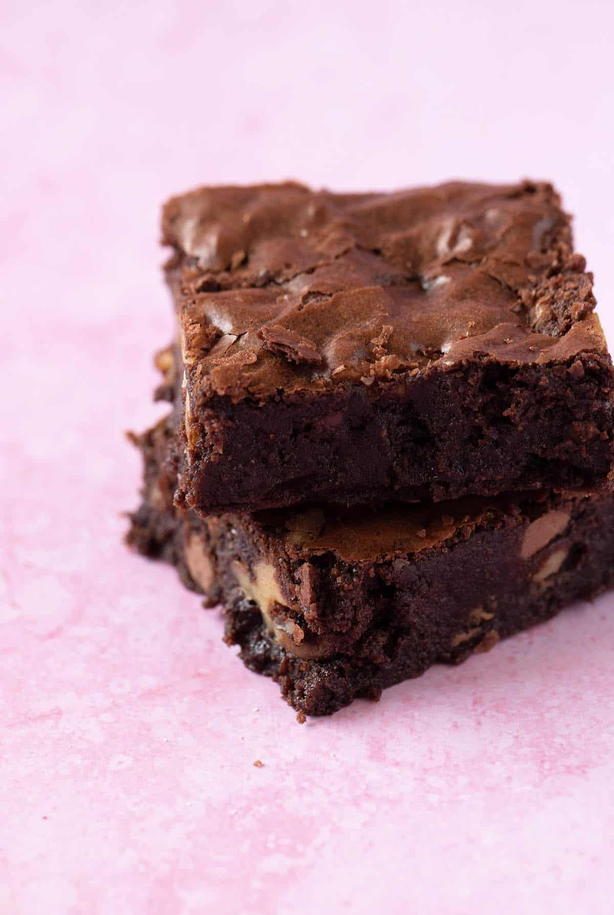 Close up of a stack of homemade Chocolate Brownies