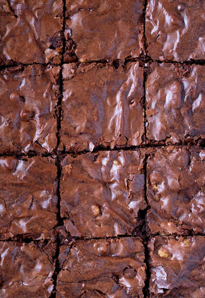 Close up of a pan of Homemade Brownies with a crinkly top