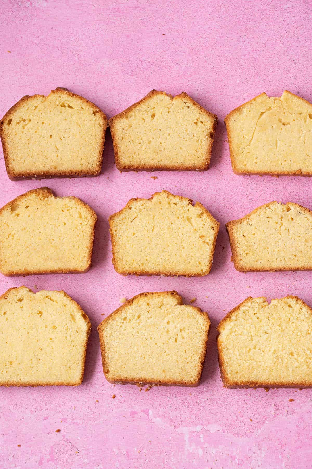 9 different types of Pound Cake on a pink background