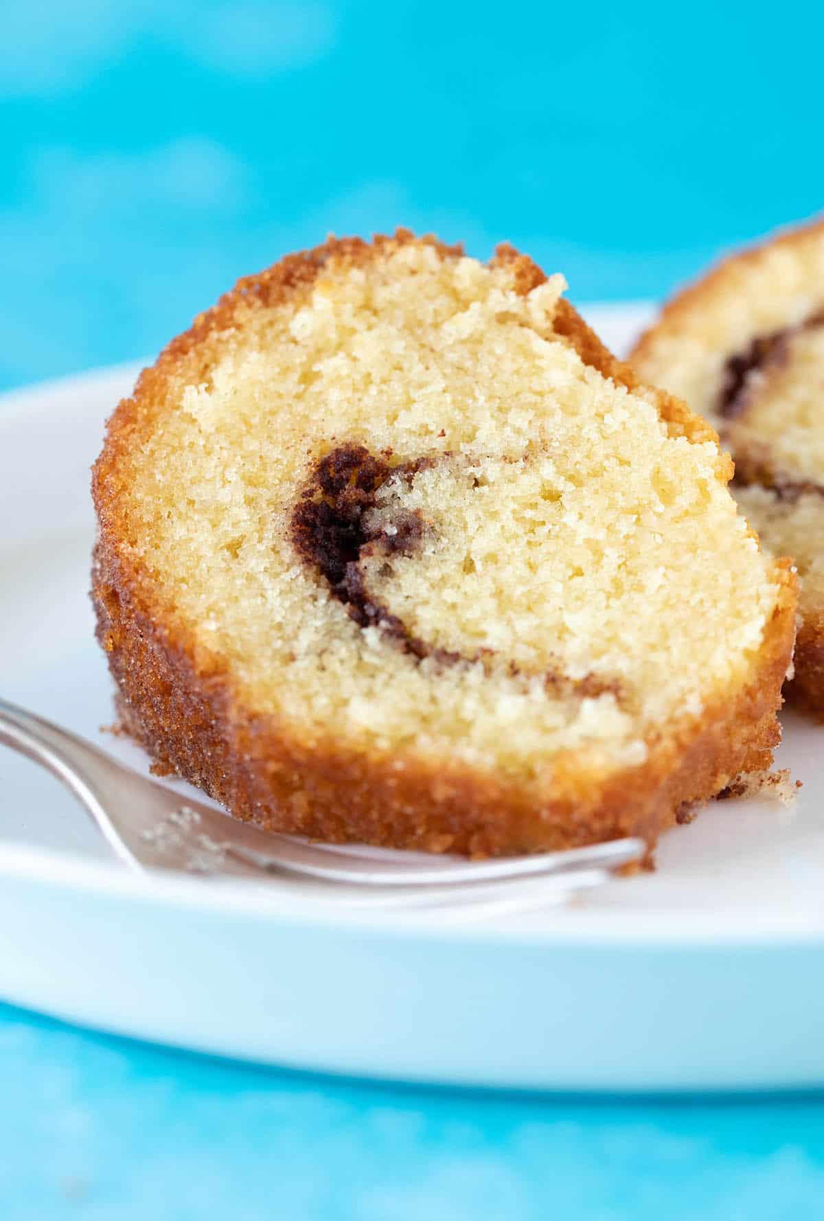 A close up photo of Cinnamon Swirl Bundt Cake