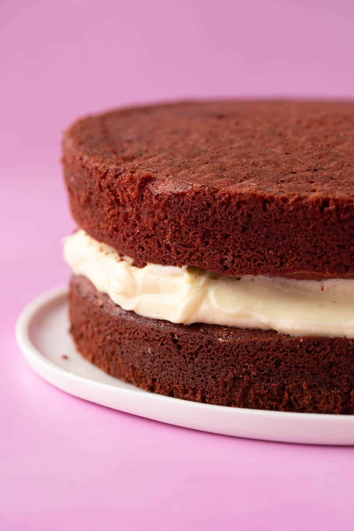 A two layer Red Velvet Cake with cream cheese frosting in the middle