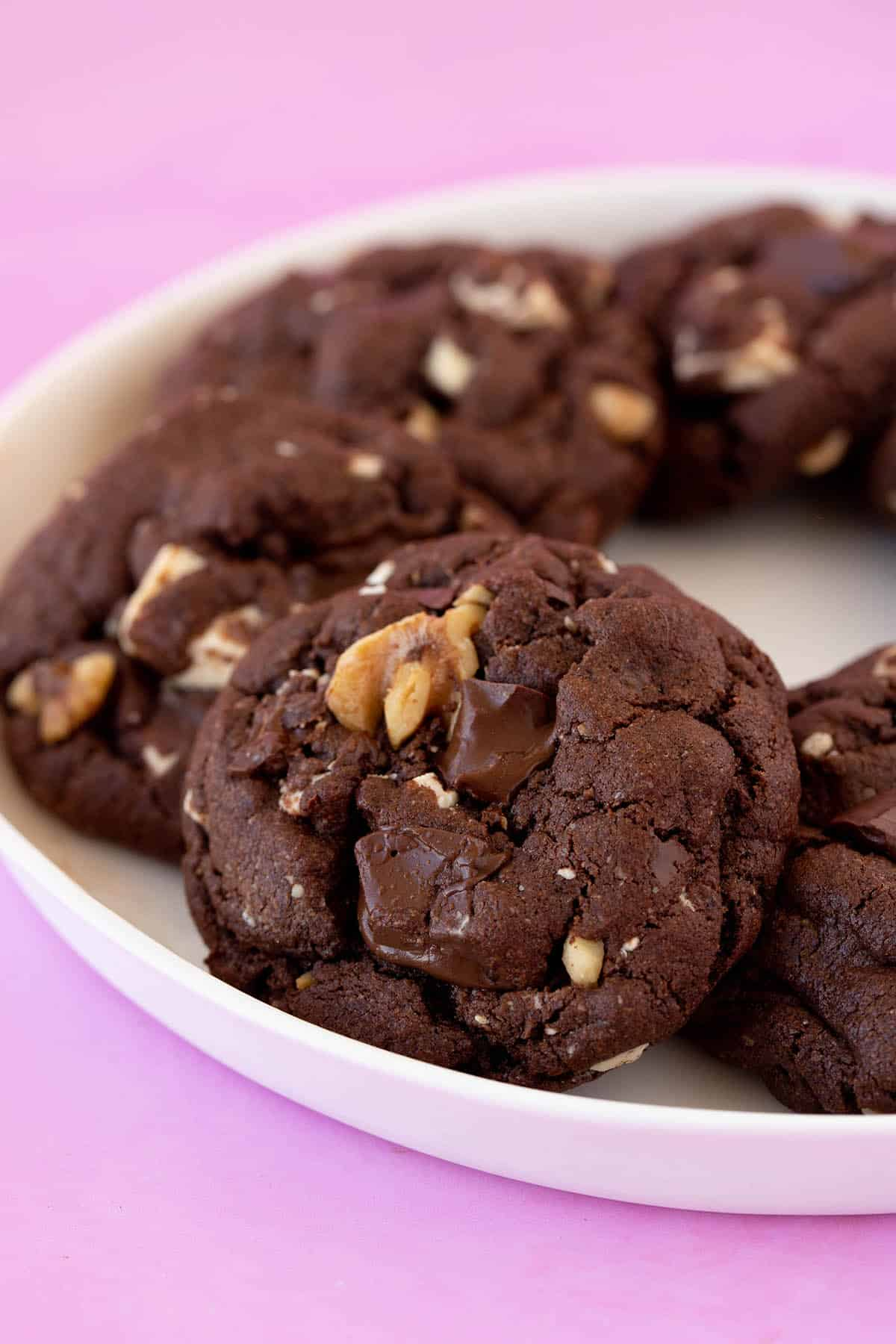 Homemade chocolate cookies on a white plate