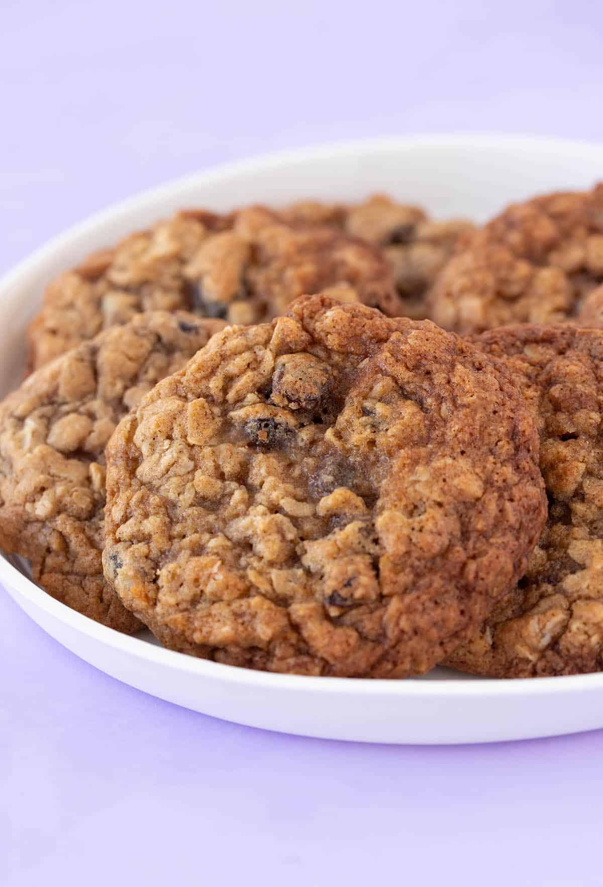 A plate of homemade Oatmeal Raisin Cookies