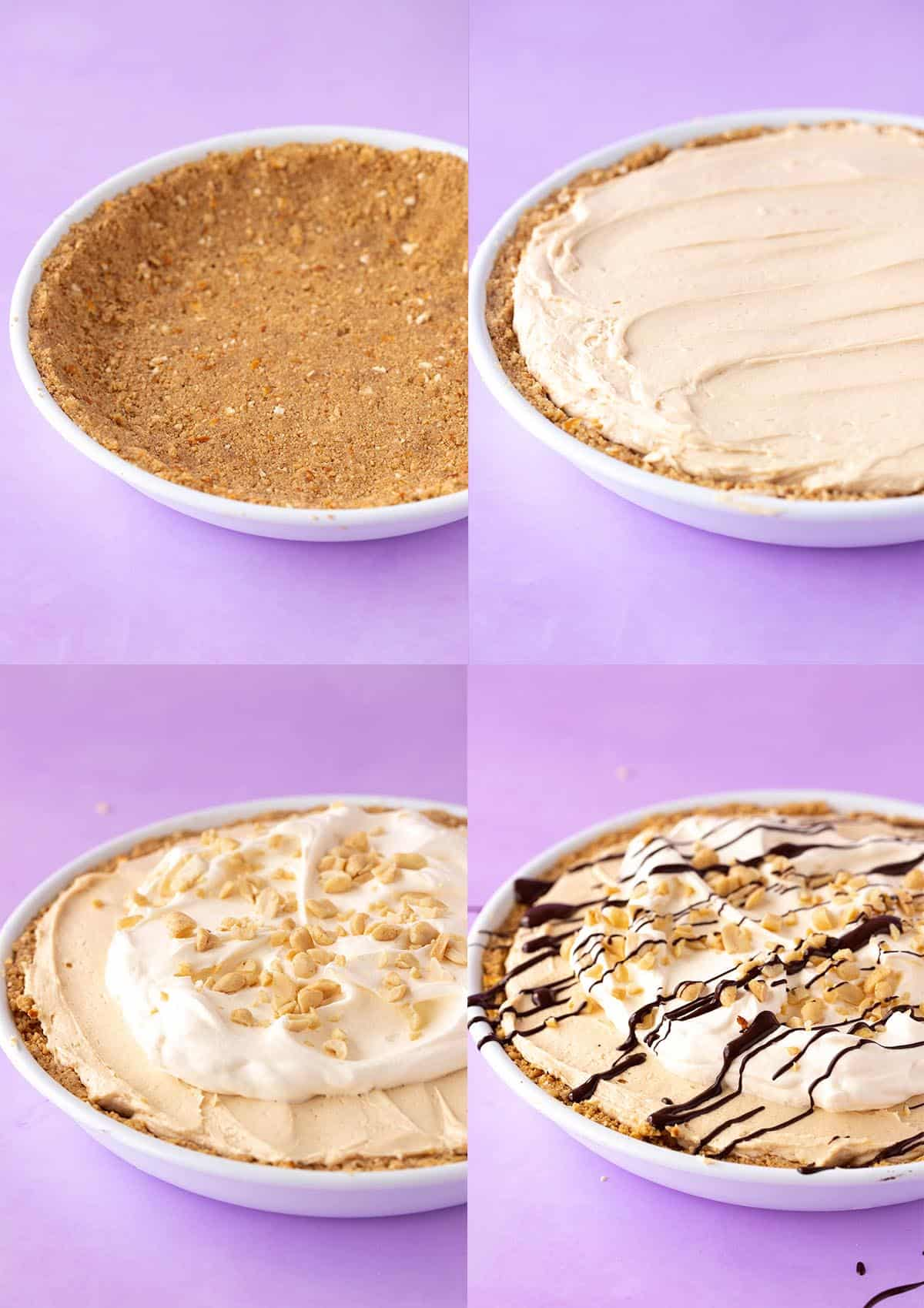 How-to photos showing how to make a No Bake Peanut Butter Pie.