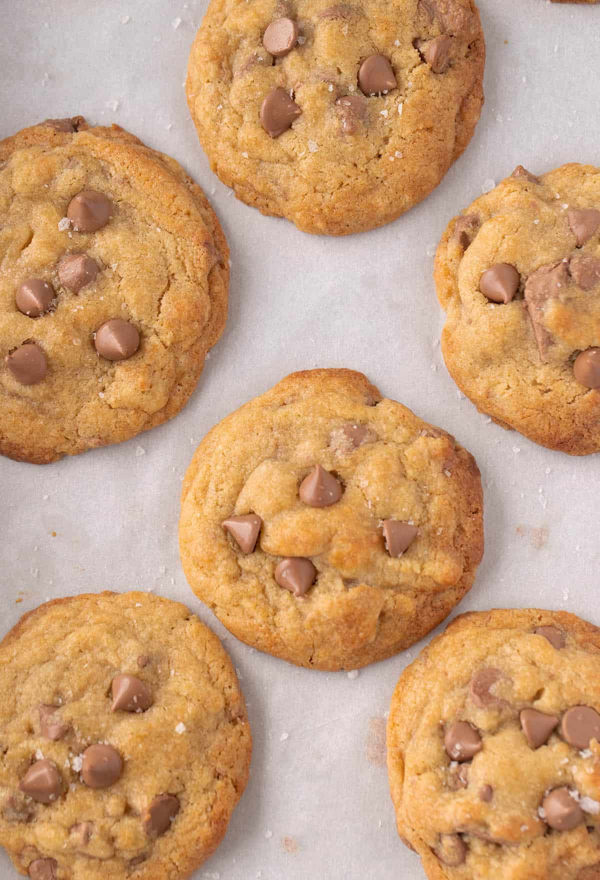 An overhead shot of a batch of chocolate chip cookies